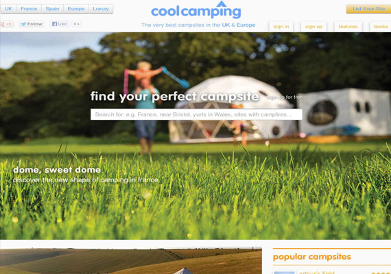 Cool Camping is a website allowing campers to easily search for campsites in the UK, campsites in France and luxury campsites.